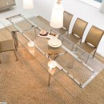 lovely dining Chair Set Brown Fur Rug Alongside With Beautiful Pendant Lamp Lovely square Glasses Dining Table