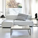 luxurious White Curtain Glasses Window additionally Small Desk Corner Contemporary Living Room Table Set Design That includes White Sofa
