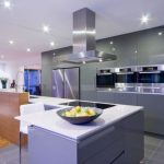 luxury Grey Gloss Pantry Kitchen And Gray Tile Flooring also White Countertop Backsplash Charming Kitchen Lighting Ideas In Ceiling