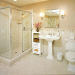 magnificenet small bathroom cute creamy shade elegant white washing stand interesting square glass shower elegant tile flooring
