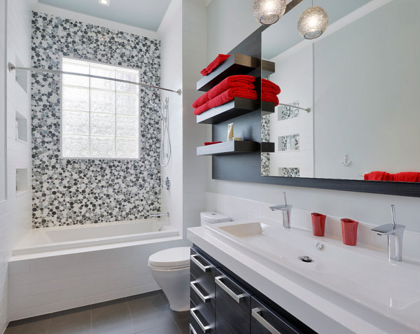 Magnificent Bathroom Decoration With A Sight Of Y Red Towel And Wonderful Mosaic Artistic Walling