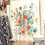 magnificent floral curtain with assorted color feat elegant towl wall mount cabinet and intereting white bidet in rustic granite tile flooring