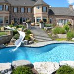magnificent inground swimming pool with gorgeous fountain also amazing paving stone feat elegant place house concept