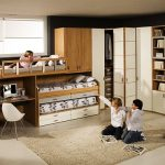 magnificent teenage boys room with black and brown scheme also interesting small bunk bed with buil-in storage and warm fur rug feat large cabinet furniture in gloosy laminate flooring