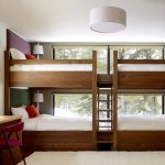 magnificent wooden bunk bed with elegant white sheets also interesting white round pendant lamp feat large glass window overlooking nature view also beautiful white rug