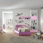 minimalist Desk plus Pink Seating Colour And Bookshelf Mounted On Wall Fashionable Ladies Bed room Design White Pink Coloration Inside