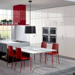 minimalist Modern Kitchen Furnishings Ideas With Pendant Lamps White glossy Eating Table Feat Red Dining Chair Including White Cupboard Kitchen also Wood Floor