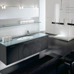 minimalsit interior decor for bathroom with ravishing black and white theme also interesting flowating vanity with sfuturistic shower design in black concrete flooring