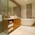 modern bathroom elegant bathtub mosaic tile walling elegant glossy bathroom cabinet cute glass shower