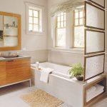 natural small bathroom style elegant long bathtub interesting washing stand cute white color decoration mosaic tile flooring