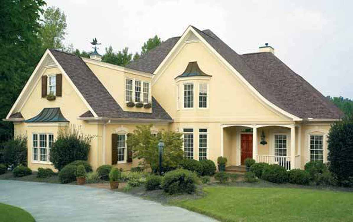 Neutral Color Painted House Beautiful Farmhouse Design Wooden Front Door Gray Roof White Window And
