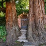 old wood arched door raw brick wall stone front stairs beautiful garden entrance two big tree sculpture old light grey lantern climbing ivy