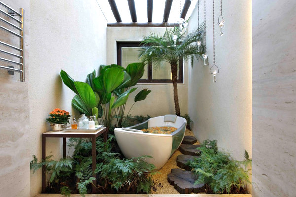 Patterned Wall Skylighted Ceiling Rustic Wooden Footpath Small Palm Tree Tropical Plants Bron Bathroom Table Vessel