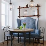 small dining room idea with king size leather blue sofa also wonderful iron chair with wooden top table also unique pendant lamp in hardwooden floor