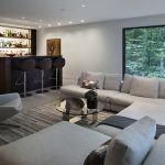 smart living room idea with gorgoeus home bar and elegant gray sofa bed also cozy dark brown suhion with bamboo motif rug with large glass window