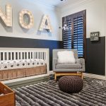 Soothing Baby Bursery Concept With Elegant White Crib Also Interesing Mosaic Pattern Chairs With Warm Fur Rug And Interesting Alphabetic Wall Decoration