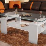 stunning Orange Leather Sofa Fascinating Glass Living Room Desk Set Design Brown Fur Rug