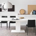 superb black Eating Chair Also White varnished Pendant Lamps also Guide Cabinets Above White Self-importance Fascinating Grey Eating Room Rug Ornament Beneath White Dining Desk