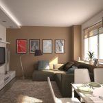 superior Frame On The Brown Wall Painting Additionally Elegant Shades Window plus Tv set up on The Wall also Led Lighting In Ceiling plus Dining Set In The Close to Small Reading Room Design With Fashionable Cloth Couch