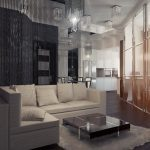 superior Low Desk On White Fur Rug Together with Beige Sofa As Properly Extensive Glasses Window plus Trendy Partition Behind Sofa Trendy Small Dwelling Room Design beautiful Pendant Lamp
