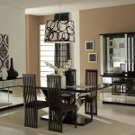 Unique Black Glasses Eating Table Decorations For Fashionable Eating Area Furniture Set Also Wood Dining Chair Also Circle Sample Round Pendant Lamp Plus Glasses Vanity In The Close By