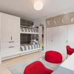 unique room kids with magical white bunkbed also ravishing red chairs and wall mount closet idea with unqie round pendant lamp in laminate flooring