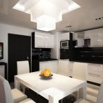 white wooden dining table white dining chair white wooden kitchen cabinet white and black wooden storage beautiful pendant lamp minimalist furniture black and white themed furniture