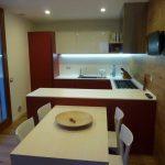 wonderful Led Lighting Below White Cupboard As Effectively Red Backsplash also White Dining Desk Set