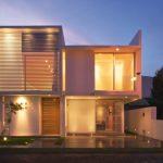wonderful Lighting Idea In Ceiling plus Yard Fence Also Wide Glass Window Modern Facades Homes Design