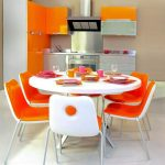 wonderful Orange White Theme Furnishings Steel Stainless Backsplash plus Behind Stove The High wonderful Small Kitchen Design Concepts