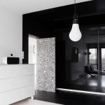 wonderful Pendant Lamp Black Tile Wall Together with White Vainness On White Rug Dramatic Lavatory Ornament Concepts