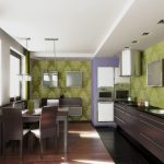 wonderful Trendy plus Colorful Kitchen Designs With beautiful Wallpaper Green Coloration