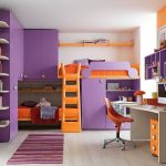 wonderful kids bunk bed with colorful accent also interesting shocking orange ladder with gorgeous purplue wall mount boookshelves and gorgeous small study desk with stripes rug in laminate flooring design