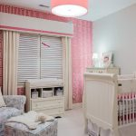 Wonderful Pink Nurserty Room With Interesting Pink And White Wallpaper Also Exciting Grey Wall Paint And Wonderful White Crib And Elegant Flowery Patter Sofa In White Concrete Flooring