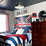 wonderful teenage bedroom design with amazing union jack wall also stary ceiling with magnificent bed and gorgeous wooden cabinet with black and white stripe bedcover