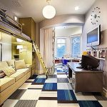 wonderful teenage boys room with gorgeous yellow bunk bed also interesting round pendant lamp with unique suare pattern flooring and beautiful grey wall paint for modern house concept