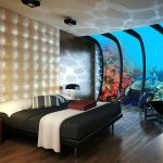 wonderful underwater hotel concept with amazing mosaic leather bedboard also enchanting iron lounge chair with amazing lighting concept in hardwooden flooring