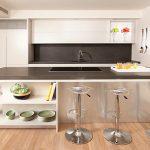 wonderufl interior design of kitchen with barstool and wonderful white kitchen cabinet and black backsplash in laminate flooring concept