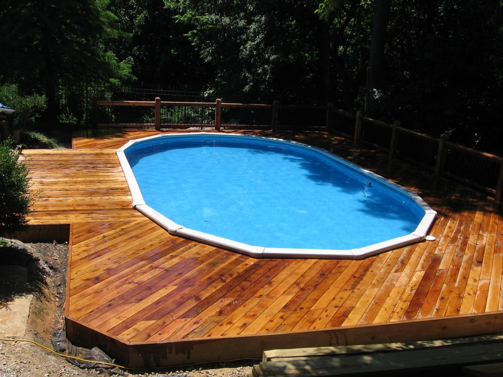 Brilliant ideas for small swimming pool homesfeed - Above ground pool deck ideas on a budget ...