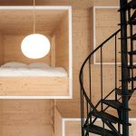 wooden sleeping space wooden living structure wooden small ladder white simple pendant lamp black spiral staircase unique living space design