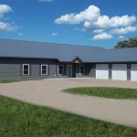 a minimalist pole barn housing in grey with three garage buildings