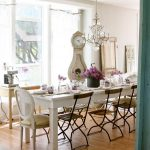 alluring frencg country interior with wonderful wooden dining set furniture also ravishing crystal chandelier in hardwooden flooring idea