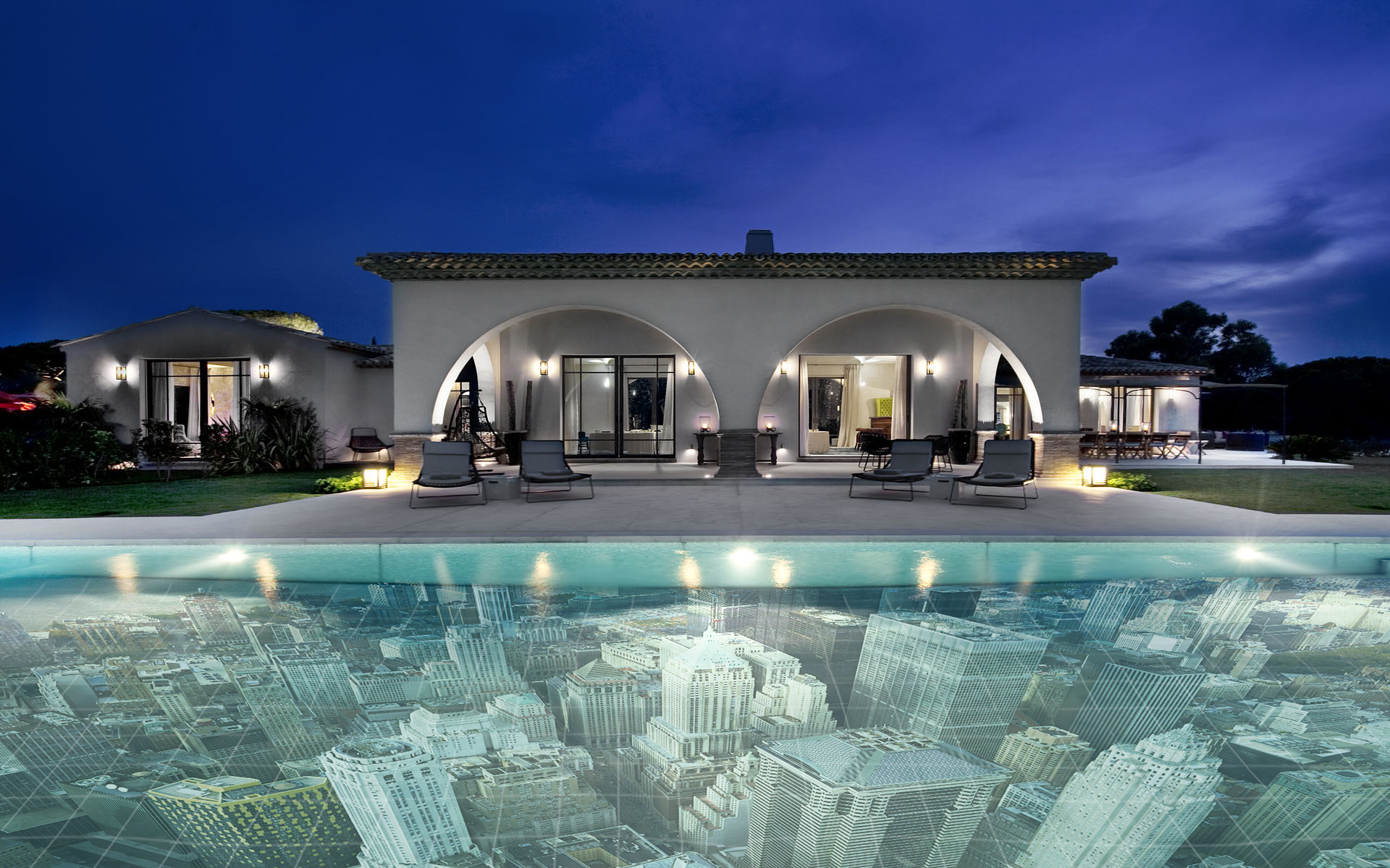 Amazing Swimming Pool With City View Decorative Tiles Grey Pave Outdoor Flooring Wall White Sconces