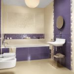 astonishing purple bathroom with elegant floating sink also large bathtub with round wall mount mirror and white bidet in concrete flooring