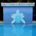 beautiful big light blue flower with green birds decorative swimming pool tile blue decorative tile small blue dots pool tile granite top decorative wall pave pathway white pool border