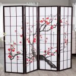 beautiful printed sakura flower room divider classic standing lamp with black solid wood stand