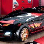 black car bed black race car bed for toddlers black car bed for kids black race car bed for kids artistic race car bed artistic car bed bedroom interior with racing theme race-theme shelves race-theme shelving units race-theme carpet