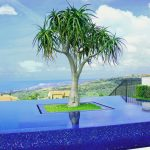 blue mosaic tiled swimming pool amazing infinity pool tree in the middel of pool as decoration black fence white brick wall city and beach view