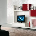 chic TV console extra large TV console minimalist modern TV console modern TV console with red cabinets minimalist-modern TV console with shelves red-white TV console modern entertainment room cozy furry carpet beautiful standing lamp