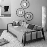comfortable and thic furry carpet round decorative mirrors grey-tone daybed beautiful and unique standing lamp